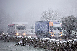 © Licensed to London News Pictures. 03/04/2019. Ingleton UK. Drivers face a treacherous journey today through heavy snow near Ingleton in the Yorkshire Dales. Photo credit: Andrew McCaren/LNP