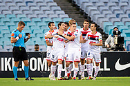 SYDNEY, NSW - JANUARY 18: Adelaide United celebrate the goal of Adelaide United midfielder Vince Lia (6) at the Hyundai A-League Round 14 soccer match between Western Sydney Wanderers and Adelaide United at ANZ Stadium in NSW, Australia 18 January 2019. Image by (Speed Media/Icon Sportswire)