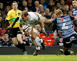 Ospreys' Alun Wyn Jones scores his sides first try<br /> <br /> Photographer Simon King/Replay Images<br /> <br /> Guinness PRO14 Round 21 - Cardiff Blues v Ospreys - Saturday 28th April 2018 - Principality Stadium - Cardiff<br /> <br /> World Copyright © Replay Images . All rights reserved. info@replayimages.co.uk - http://replayimages.co.uk