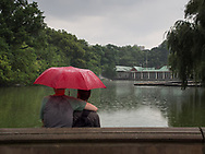 A rainy day at The Lake in Central Park.