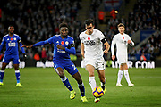Leicester City midfielder Onyinye Wilfred Ndidi (25) and Burnley's Jack Cork  during the Premier League match between Leicester City and Burnley at the King Power Stadium, Leicester, England on 10 November 2018.