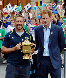 © Licensed to London News Pictures. 10/06/2015. <br /> LONDON, UK. HRH PRINCE HARRY (R), JONNY WILKINSON (L), Will Greenwood and local school children launch the 100 days to go until the Rugby World Cup 2015 at Twickenham Stadium with the Web Ellis Cup, London, Wednesday 10 June 2015. Photo credit : Hannah McKay/LNP