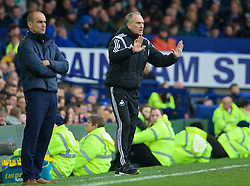 LIVERPOOL, ENGLAND - Sunday, January 24, 2016: Everton's manager Roberto Martinez and Swansea City's manager Francesco Guidolin during the Premier League match at Goodison Park. (Pic by David Rawcliffe/Propaganda)