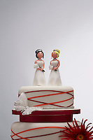Bridesmaid Figurines on Wedding Cake