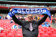 Glossop supporter and boyhood hometown at the FA Vase Final between Glossop North End and North Shields at Wembley Stadium, London, England on 9 May 2015. Photo by Phil Duncan.