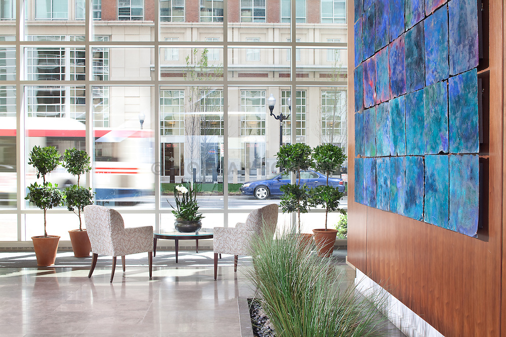 Condominium Modern lobby with topiary