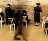 Orthodox Jewish men praying in the Kotel in the Old City of Jerusalem, 2013.