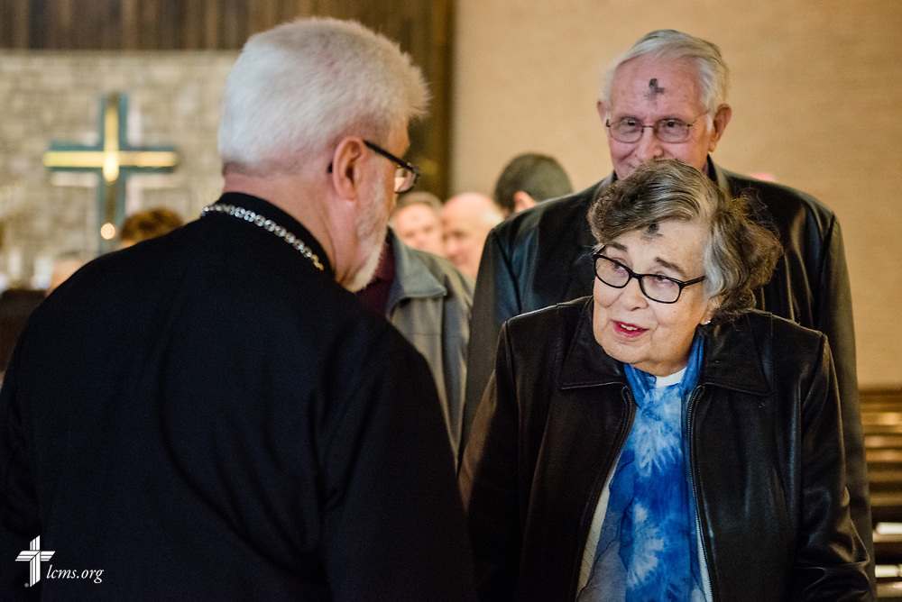 The Rev. Thomas Handrick, Sr., pastor of Immanuel Lutheran Church, Perryville, Mo., greets members Wednesday, March 1, 2017, following service at the church in Perryville, Mo. A violent tornado ripped through parts of the area the night before. LCMS Communications/Erik M. Lunsford