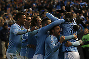 5/22/15- NYCFC celebrate forward P. Mullin's goal as a team during a NYCFC home match played at Yankee Stadium in the south Bronx.