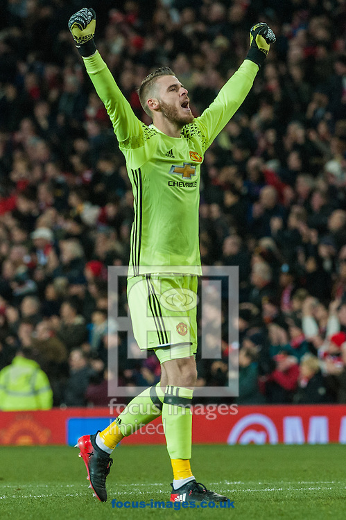 Manchester United goalkeeper David De Gea celebrates Juan Mata's goal during the first leg of the EFL Cup Semi-final at Old Trafford, Manchester<br /> Picture by Matt Wilkinson/Focus Images Ltd 07814 960751<br /> 10/01/2017