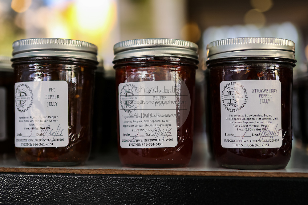 Locally canned jams and jelly on display at the Farmers Market along Main Street in downtown Greenville, South Carolina.
