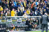 Fotball , 17.08.14 , Tippeligaen, Eliteserien , <br /> Lillestrøm - Vålerenga <br /> Magnus Haglund og Magnus Powell prater sammen i pausa<br /> Foto: Sjur Stølen / Digitalsport