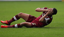 Derby County's Adam Smith goes down injured  - Photo mandatory by-line: Robin White/JMP - Tel: Mobile: 07966 386802 14/09/2013 - SPORT - FOOTBALL -  The Den - London - Millwall V Derby County - Sky Bet League Championship