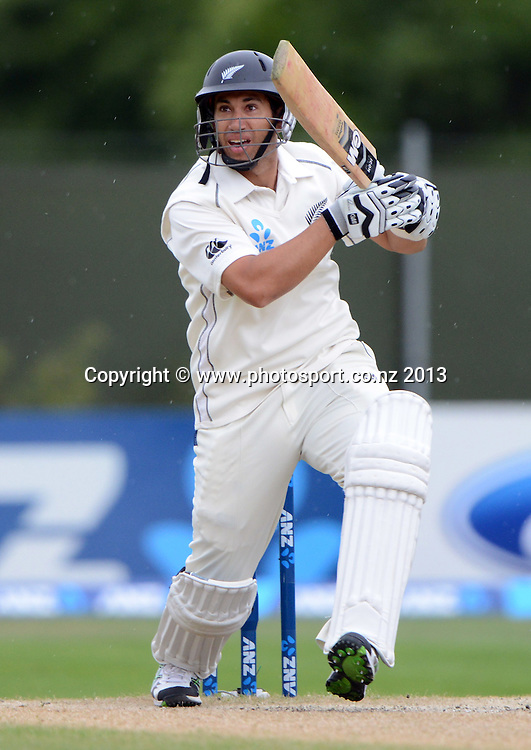 Ross Taylor batting on Day 5 of the 1st cricket test match of the ANZ Test Series. New Zealand Black Caps v West Indies at University Oval in Dunedin. Saturday 7 December 2013. Photo: Andrew Cornaga/www.Photosport.co.nz