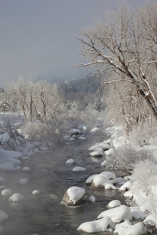 """Snowy Truckee River 1"" - This foggy and snowy scene of the Truckee River was photographed in Downtown Truckee, CA."
