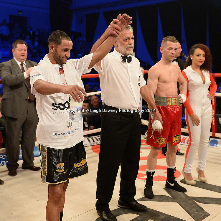 Kid Galahad defeats Sergio Prado for the vacant EBU European Super Bantamweight Title at  Ponds Forge Arena, Sheffield on the 22nd March 2014. Hennessy Sports. © Credit: Leigh Dawney Photography 2014.