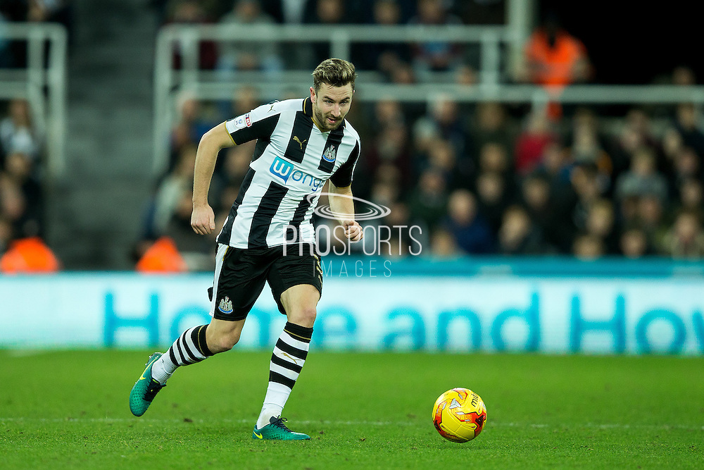 Newcastle United defender Paul Dummett (#3) makes a pass during the EFL Sky Bet Championship match between Newcastle United and Nottingham Forest at St. James's Park, Newcastle, England on 30 December 2016. Photo by Craig Doyle.