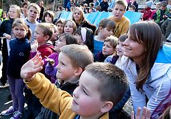 Sara Isakovic, Slovenian swimmer with children of OS Notranje Gorice when her sponsor Zavarovalnica Triglav d.d. decided to rebuild children playground, on March 22, 2012, in Notranje Gorice, Slovenia. (Photo by Vid Ponikvar / Sportida.com)