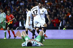 February 28, 2019 - Valencia, Spain - Francis Coquelin of Valencia CF and Piccini of Valencia CF  after  Spanish King La Copa match between  Valencia cf vs Real Betis Balompie Second leg  at Mestalla Stadium on February 28, 2019. (Photo by Jose Miguel Fernandez/NurPhoto) (Credit Image: © Jose Miguel Fernandez/NurPhoto via ZUMA Press)