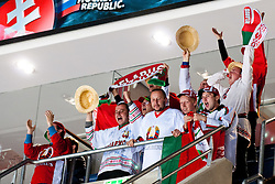 Fans of Belarus celebrating goal during ice-hockey match between Slovenia and Belarus of Group G in Relegation Round of IIHF 2011 World Championship Slovakia, on May 8, 2011 in Orange Arena, Bratislava, Slovakia. (Photo by Matic Klansek Velej / Sportida)