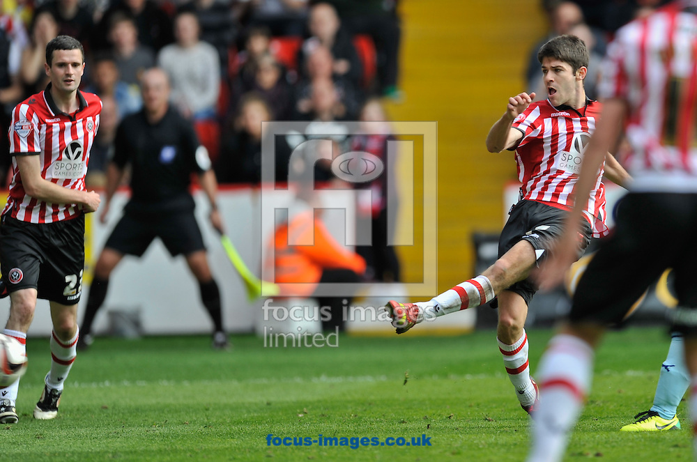 Ryan Flynn of Sheffield United scores to make it 1-1 during the Sky Bet League 1 match at Bramall Lane, Sheffield<br /> Picture by Richard Land/Focus Images Ltd +44 7713 507003<br /> 03/05/2014