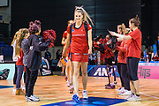 Jane Watson of the Tactix lead the tactix out on to court during the ANZ Premiership Netball match, Tactix V Magic, Horncastle Arena, Christchurch, New Zealand, 6th June 2018.Copyright photo: John Davidson / www.photosport.nz