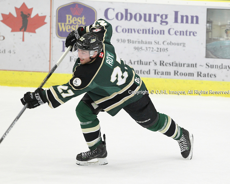 COBOURG, ON  - OCT 3,  2016: Ontario Junior Hockey League game between Newmarket and Cobourg, Brennan Roy #27 of the Cobourg Cougars shoots the puck during the second period.<br /> (Photo by Tim Bates / OJHL Images)