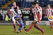 Bury Midfielder, Rohan Ince (30) shoots during the EFL Trophy match between Bury and U23 Stoke City at the JD Stadium, Bury, England on 8 November 2017. Photo by Mark Pollitt.