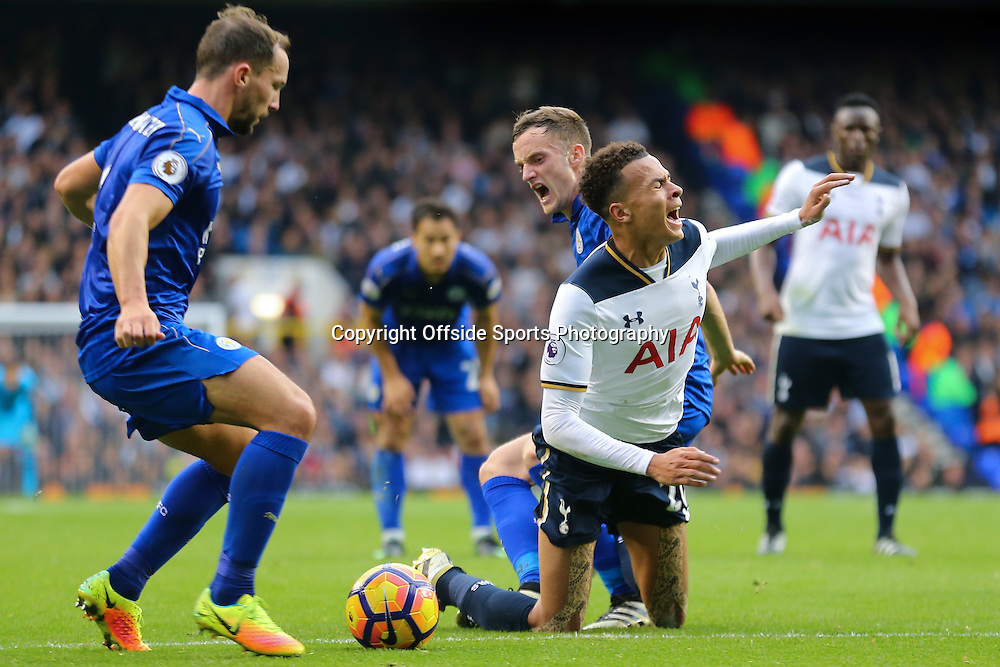 29 October 2016 - Premier League - Tottenham Hotspur v Leicester City - Dele Alli of Tottenham Hotspur is fouled by Andy King of Leicester City - Photo: Marc Atkins / Offside.