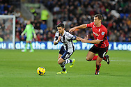 WBA's Shane Long (l) holds off Cardiff city's Ben Turner. Barclays Premier league, Cardiff city v West Bromwich Albion at the Cardiff city Stadium in Cardiff, South Wales on Saturday 14th Dec 2013. pic by Andrew Orchard, Andrew Orchard sports photography.