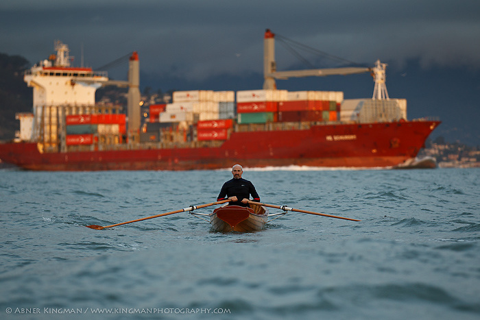 "Todd Oppenheimer rowing the  ""Kohlenberg"" boat, just built for the Dolphin Club by Jeremy Fisher-Smith"