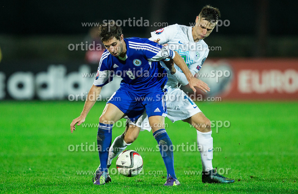 Jose Hirsch of San Marino vs Andraz Struna of Slovenia during football match between National teams of San Marino and Slovenia in Group E of EURO 2016 Qualifications, on October 12, 2015 in Stadio Olimpico Serravalle, Republic of San Marino. Photo by Vid Ponikvar / Sportida