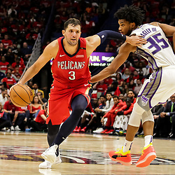 Oct 19, 2018; New Orleans, LA, USA; New Orleans Pelicans forward Nikola Mirotic (3) drives past Sacramento Kings forward Marvin Bagley III (35) during the second half at the Smoothie King Center. The Pelicans defeated the Kings 149-129. Mandatory Credit: Derick E. Hingle-USA TODAY Sports