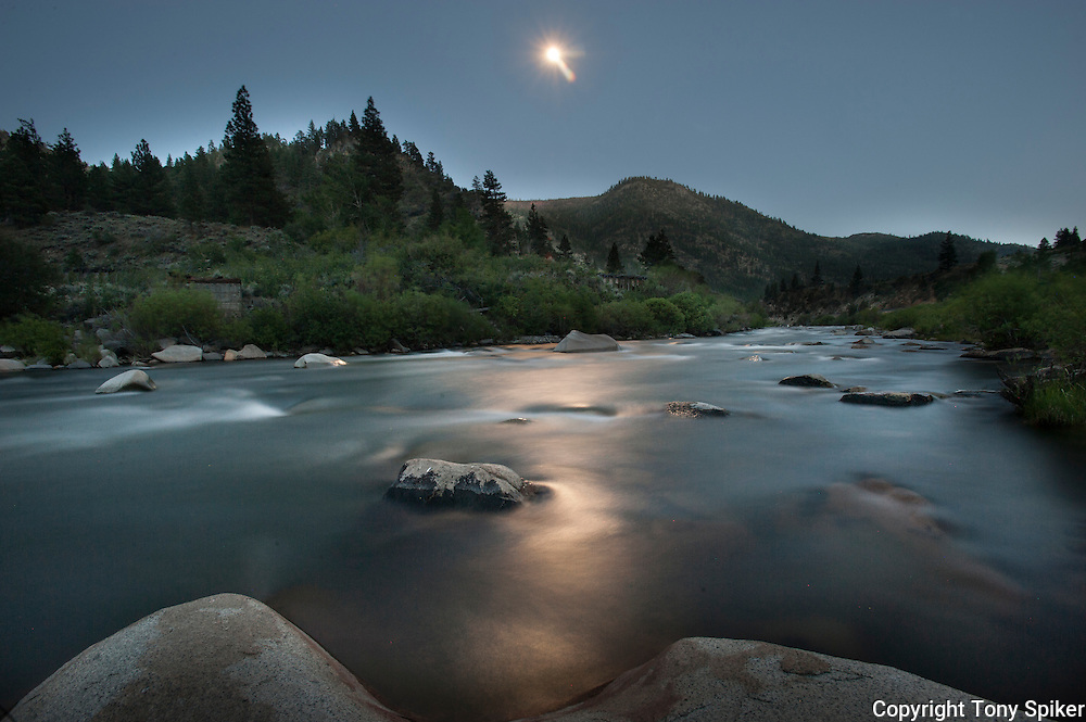 """Moon Over Truckee River 3"" - A long exposure photograph of the moon rising over the Truckee River."