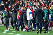 Czech Republic celebrate winning the game during the UEFA European 2020 Qualifier match between Czech Republic and England at Sinobo Stadium, Prague, Czech Republic on 11 October 2019.