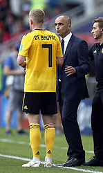 June 23, 2018 - Moscow, RUSSIA - Belgium's head coach Roberto Martinez talks to Belgium's Kevin De Bruyne at the second game of Belgian national soccer team the Red Devils against Tunisia national team in the Spartak stadium, in Moscow, Russia, Saturday 23 June 2018. Belgium won its first group phase game. BELGA PHOTO BRUNO FAHY (Credit Image: © Bruno Fahy/Belga via ZUMA Press)