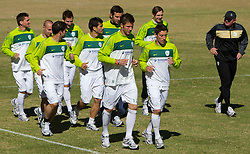Head coach of Slovenia Matjaz Kek and Players of Slovenia during a training session at  Hyde Park High School Stadium on June 14, 2010 in Johannesburg, South Africa.  (Photo by Vid Ponikvar / Sportida)