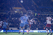 Michael Smith of Rotherham United (24) gets a header on target during the EFL Sky Bet League 1 match between Coventry City and Rotherham United at the Trillion Trophy Stadium, Birmingham, England on 25 February 2020.