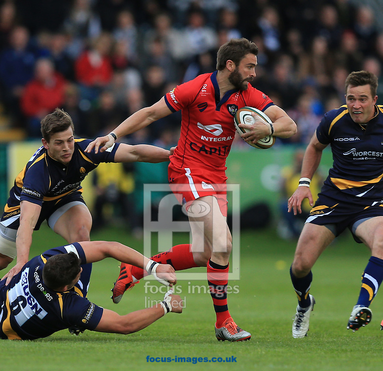 Nicky Robinson of Bristol Rugby breaks the tackles during the second leg of the Greene King IPA Championship Final at Sixways Stadium, Worcester<br /> Picture by Michael Whitefoot/Focus Images Ltd 07969 898192<br /> 27/05/2015