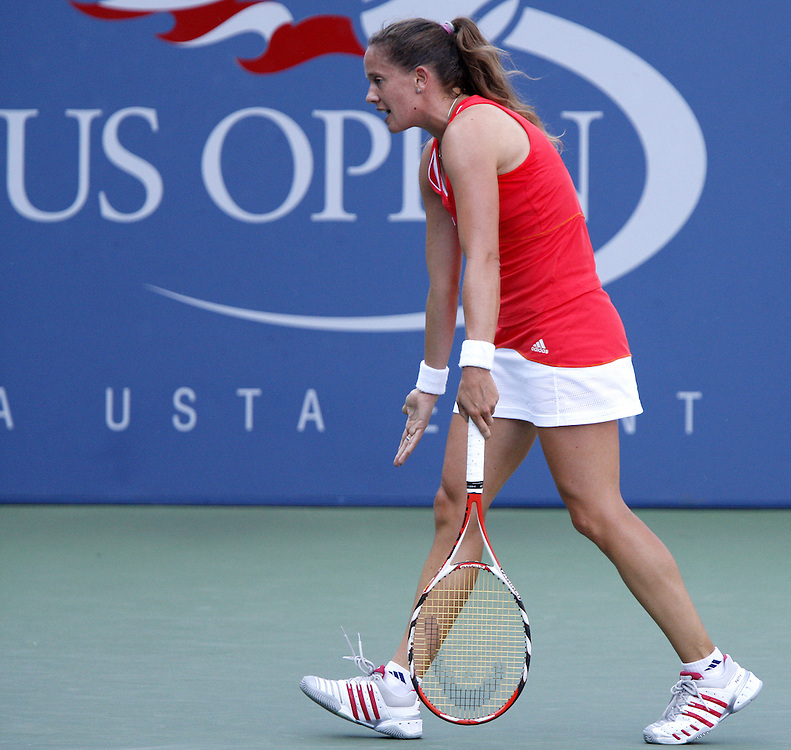 Patty Schnyder of Switzerland reacts as she plays Tamira Paszek of Austria during their third round match on the sixth day of the 2007 US Open tennis tournament in Flushing Meadows, New York, USA, 01 September 2007.