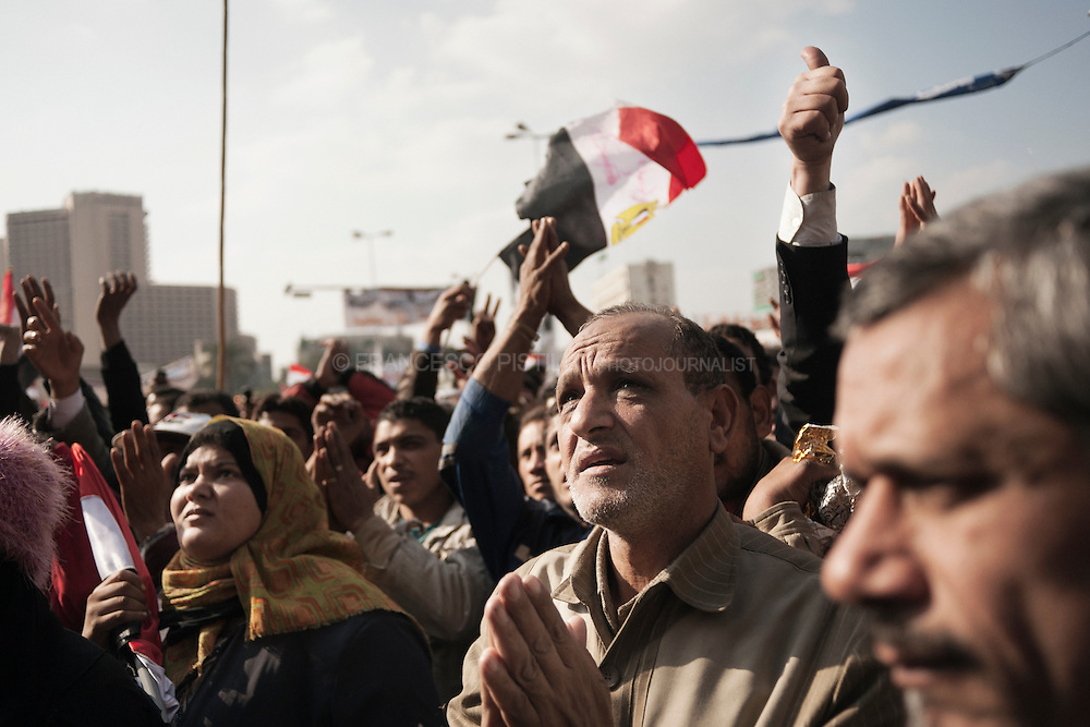 Dicember 2. Egypt 2011. Cairo. People protesting in Tahrir after the Friday prayer.