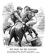 "The Fight for the Favourite. Mr. Lloyd George. ""Here, I say, this is my mount."" Mr. Winston Churchill. ""No, it isn't. I thought of it first."" (Churchill and Lloyd George struggle to get onto the Anti-Socialism horse first)"