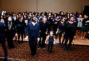 """Attendees enjoy """"line dancing"""" at the All Black Affair at Baker University Center Ballroom at Ohio University on Friday, January 29, 2016. © Ohio University / Photo by Sonja Y. Foster"""