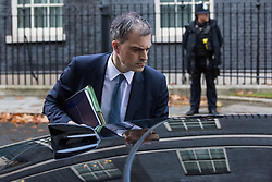 London, UK. 21st November, 2018. Julian Smith MP, Chief Whip, leaves 11 Downing Street to attend Prime Minister's Questions at the House of Commons.