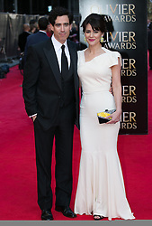 The Laurence Olivier Awards - Red Carpet Arrivals. Stephen Mangan and Louise Delamere attends The Laurence Olivier Awards at the Royal Opera House, London, United Kingdom. Sunday, 13th April 2014. Picture by Daniel Leal-Olivas / i-Images