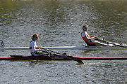 Seville. SPAIN, 18.02.2007, GER LW1X daniela REIMER and NED Marit van EUPEN approach the finishing line, during Sundays final, at the FISA Team Cup, held on the River Guadalquiver course. [Photo Peter Spurrier/Intersport Images]    [Mandatory Credit, Peter Spurier/ Intersport Images]. , Rowing Course: Rio Guadalquiver Rowing Course, Seville, SPAIN,
