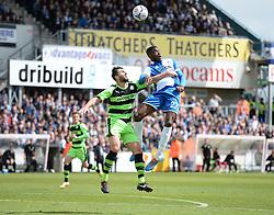 Bristol Rovers' Nathan Blissett battles for a high ball with Forest Green Rovers's Aarran Racine - Photo mandatory by-line: Alex James/JMP - Mobile: 07966 386802 - 03/05/2015 - SPORT - Football - Bristol - Memorial Stadium - Bristol Rovers v Forest Green Rovers - Vanarama Football Conference