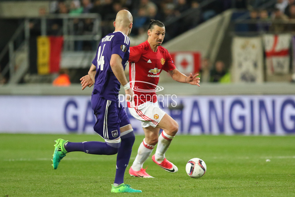 Zlatan Ibrahimovic Forward of Manchester United during the UEFA Europa League Quarter-final, Game 1 match between Anderlecht and Manchester United at Constant Vanden Stock Stadium, Anderlecht, Belgium on 13 April 2017. Photo by Phil Duncan.