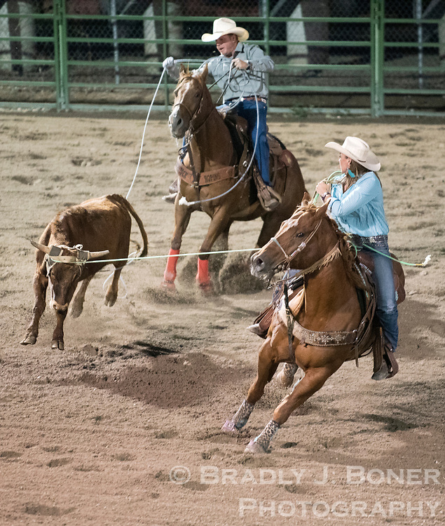 Sadee and Barry Kreikemeier compete in team roping last year at the Jackson Hole Rodeo.