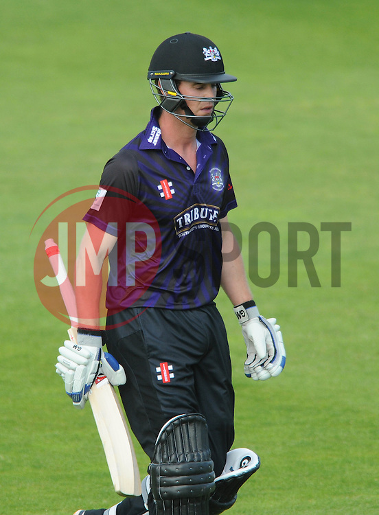 Ian Cockbain of Gloucestershire cuts a dejected figure as he is out for 34 - Photo mandatory by-line: Dougie Allward/JMP - Mobile: 07966 386802 - 19/06/2015 - SPORT - Cricket - Bristol - County Ground - Gloucestershire v Somerset - Natwest T20 Blast
